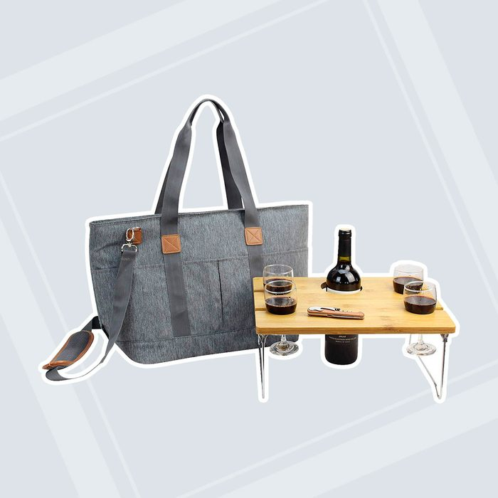 Picnic Basket Tote Bag with Table