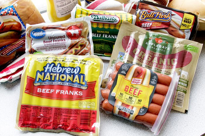Multiple popular brands of hot dogs in packaging.