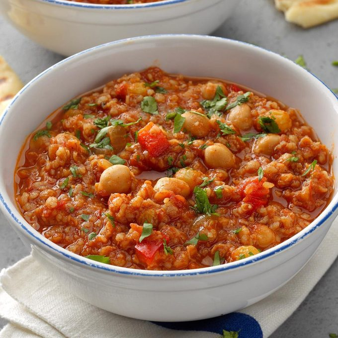 Pressure-Cooker Spice Trade Beans and Bulgur