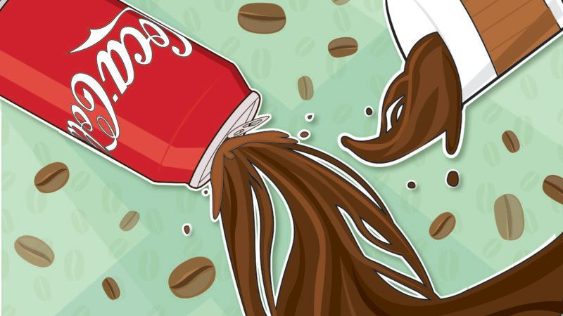 Illustration of coffee and coca cola on green background with coffee beans
