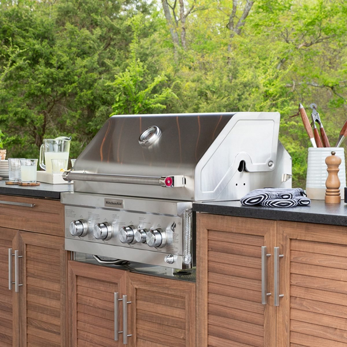 In-cabinet KitchenAid grill at the Shed