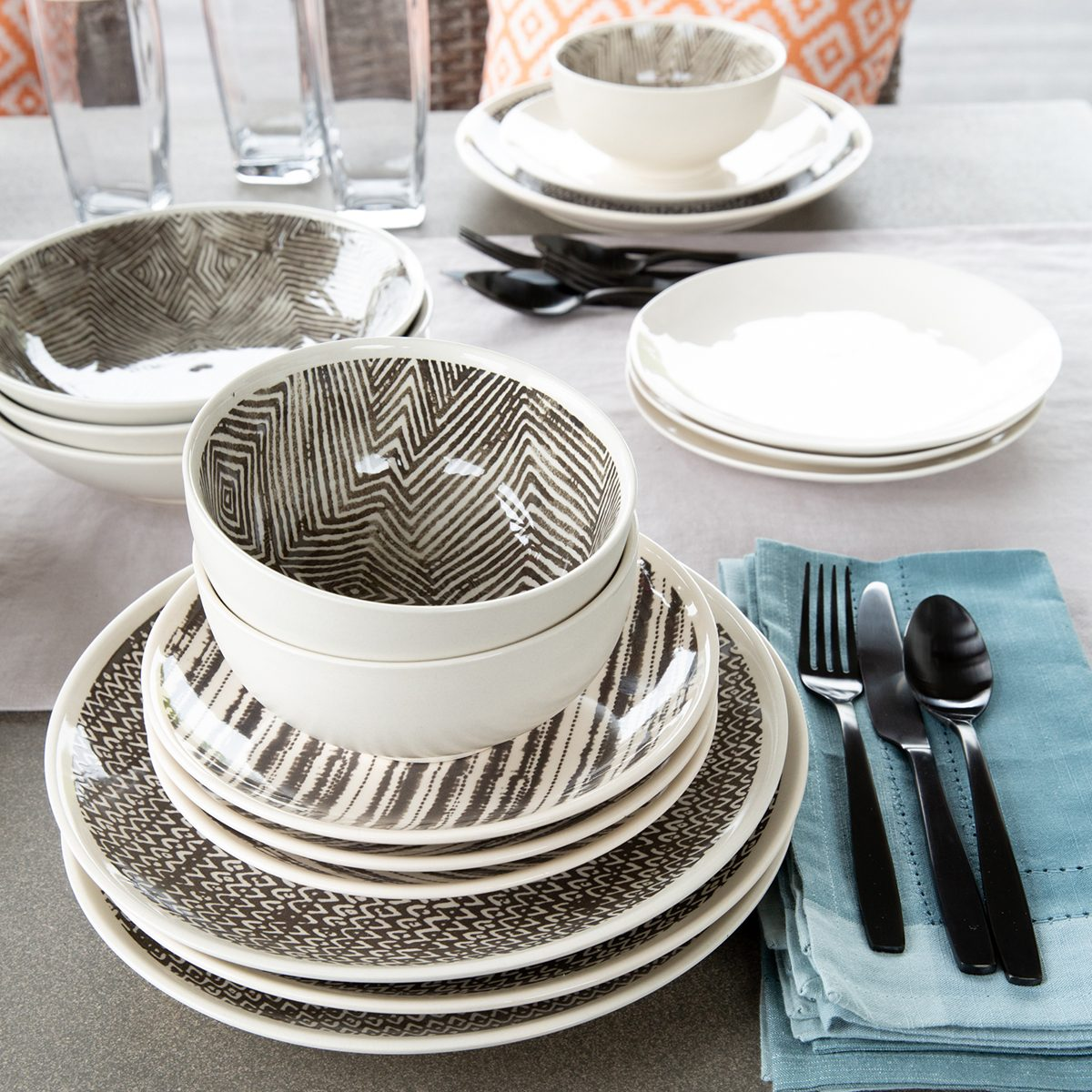 deck, bowl, plates, silverware
