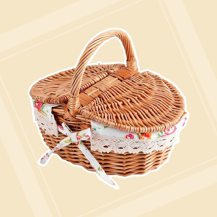 Wicker Floral Picnic Basket