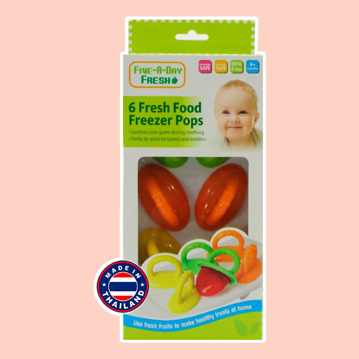 Five-A-Day 6 Fresh Food Freezer Pops with Easy Grip Handles
