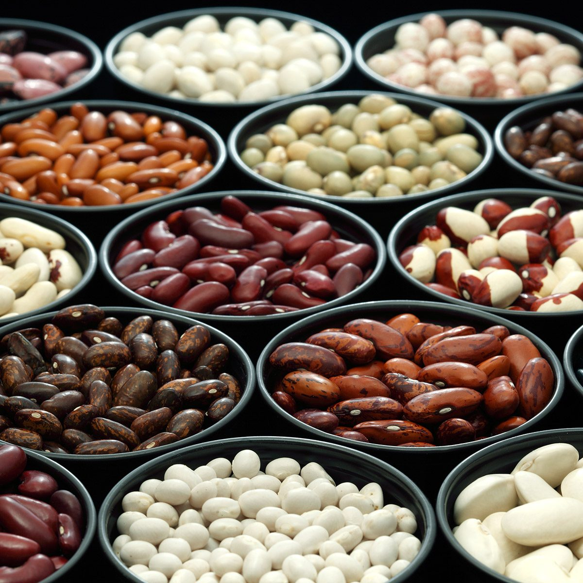 Different types of beans and lentils background