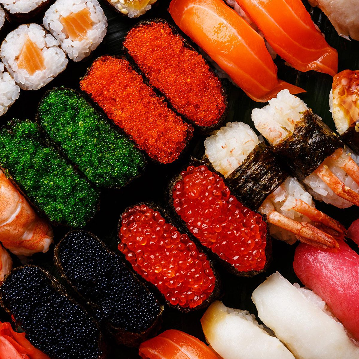 Different sushi lined up
