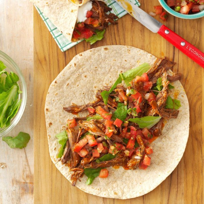 Pressure-Cooker Mexican Shredded Beef Wraps