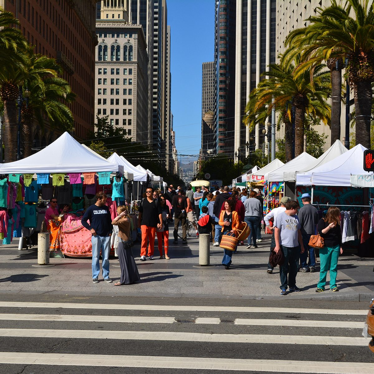 People shopping at the Ferry Plaza farmer's market in downtown San Francisco, California