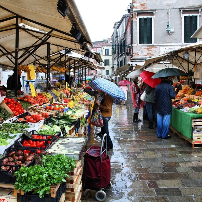Shoppers at a farmers market on September 16, 2009 in Venice, Italy.