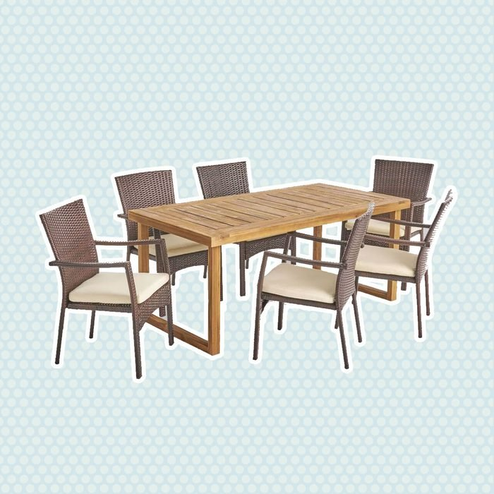 best patio furniture Garner 7pc Acacia Wood Wicker Patio Dining Set Brown Christopher Knight Home