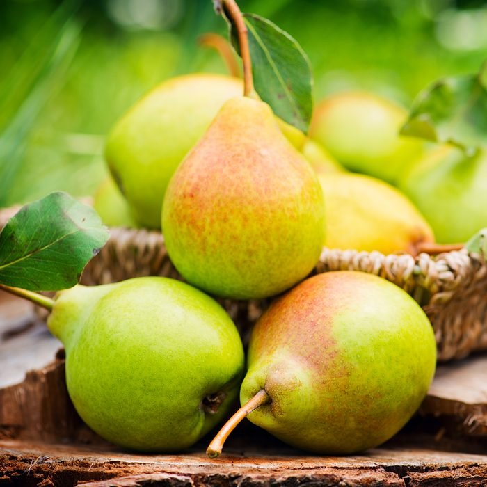 Healthy Organic Pears in the Basket.
