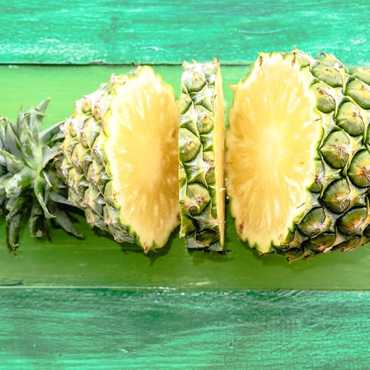 Pineapple cut to the core in two places