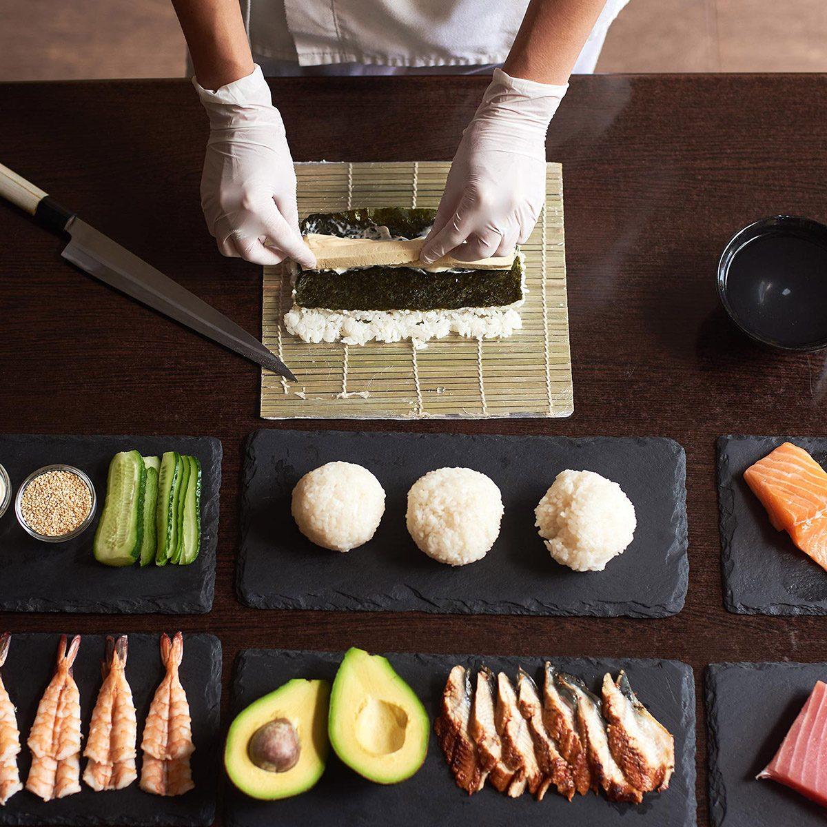 Preparing sushi