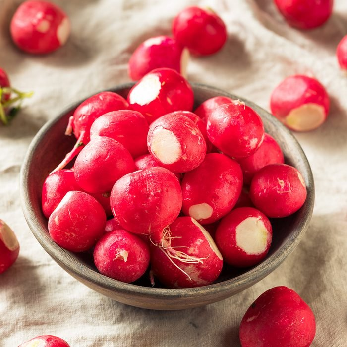 Raw Red Organic Radishes in a Bowl