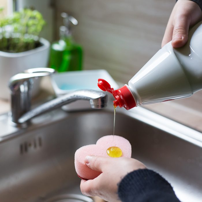 Hands of young woman getting detergent on a sponge; Shutterstock ID 1063004627; Job (TFH, TOH, RD, BNB, CWM, CM): Taste of Home