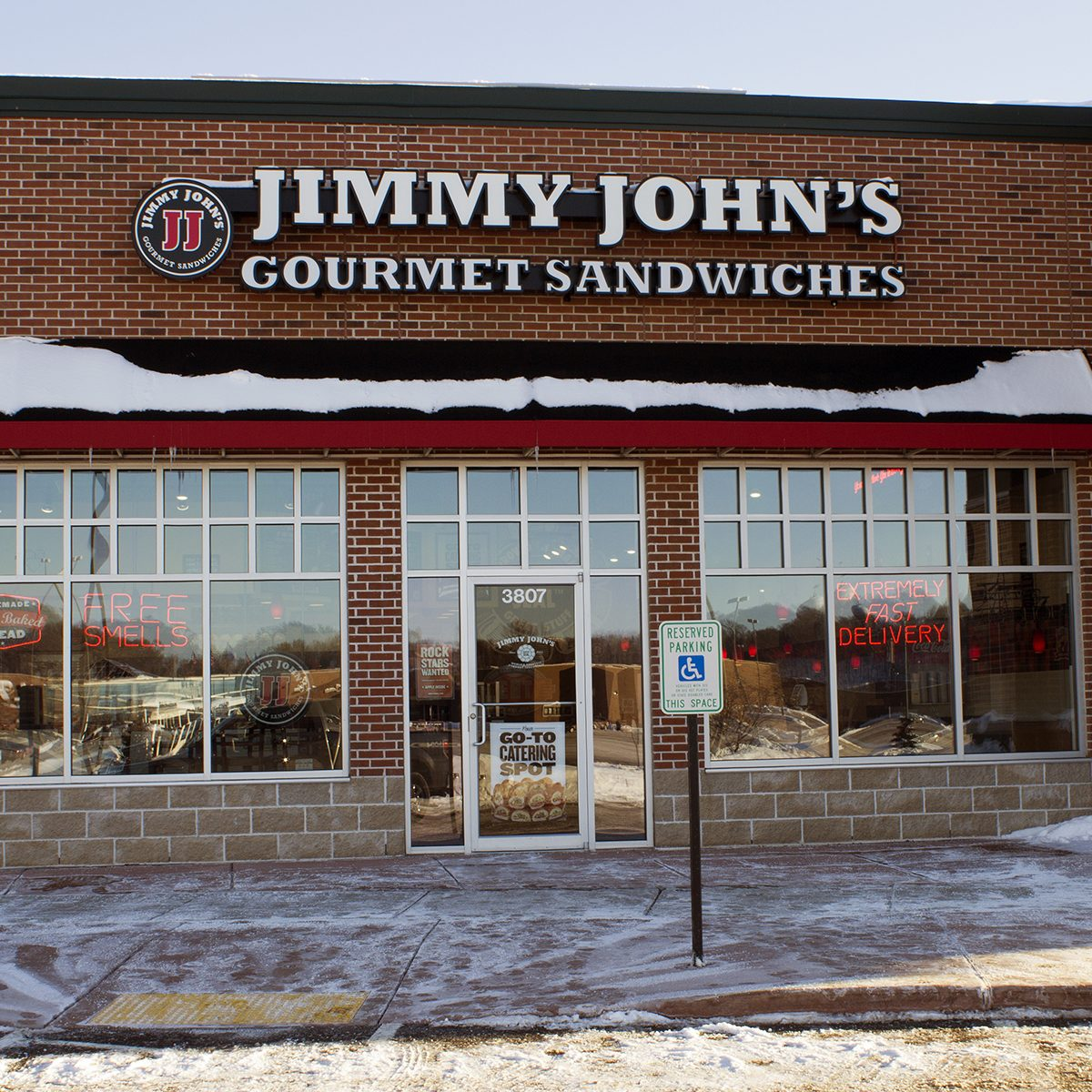 RIVER FALLS,WISCONSIN-FEBRUARY 02,2014: Jimmy John's restaurant storefront. Jimmy John's has opened approximately 200 units per year over the last three years.; Shutterstock ID 174622448; Job (TFH, TOH, RD, BNB, CWM, CM): TOH