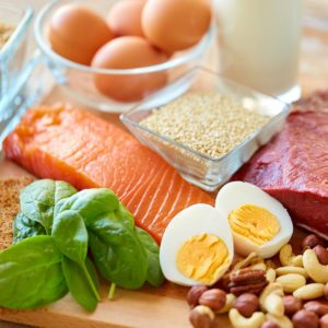 healthy eating and diet concept - natural rich in protein food on table; Shutterstock ID 684710068; Job (TFH, TOH, RD, BNB, CWM, CM): Taste of Home
