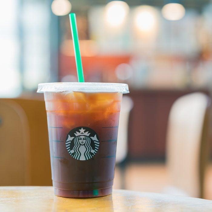 Espresso coffee at Starbucks shop.