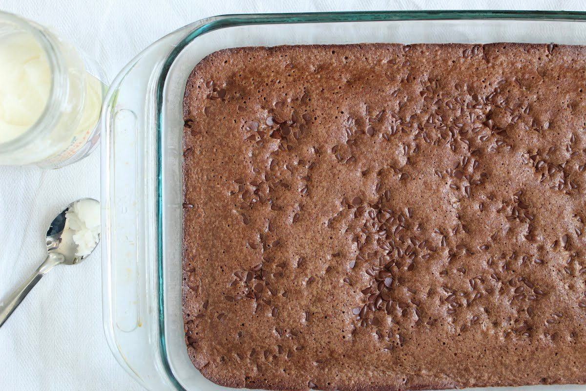 brownie recipe with coconut oil close up