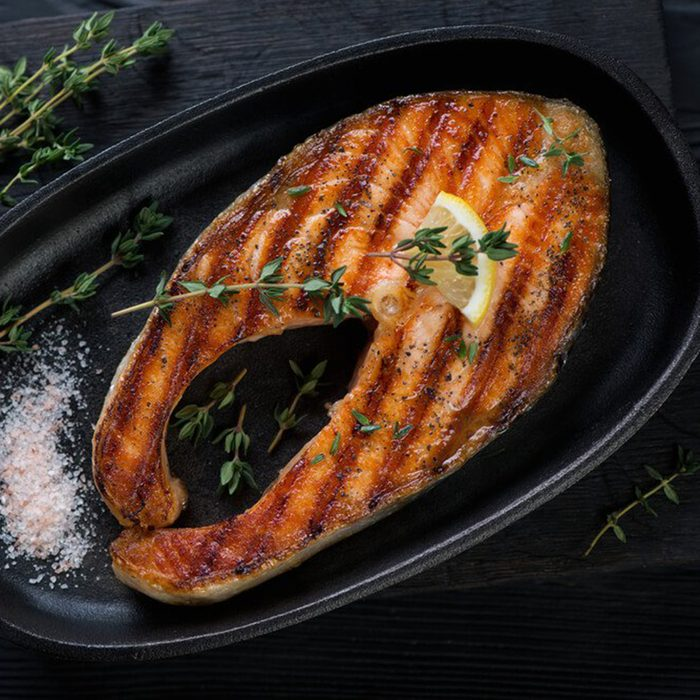 Grill salmon in a pan