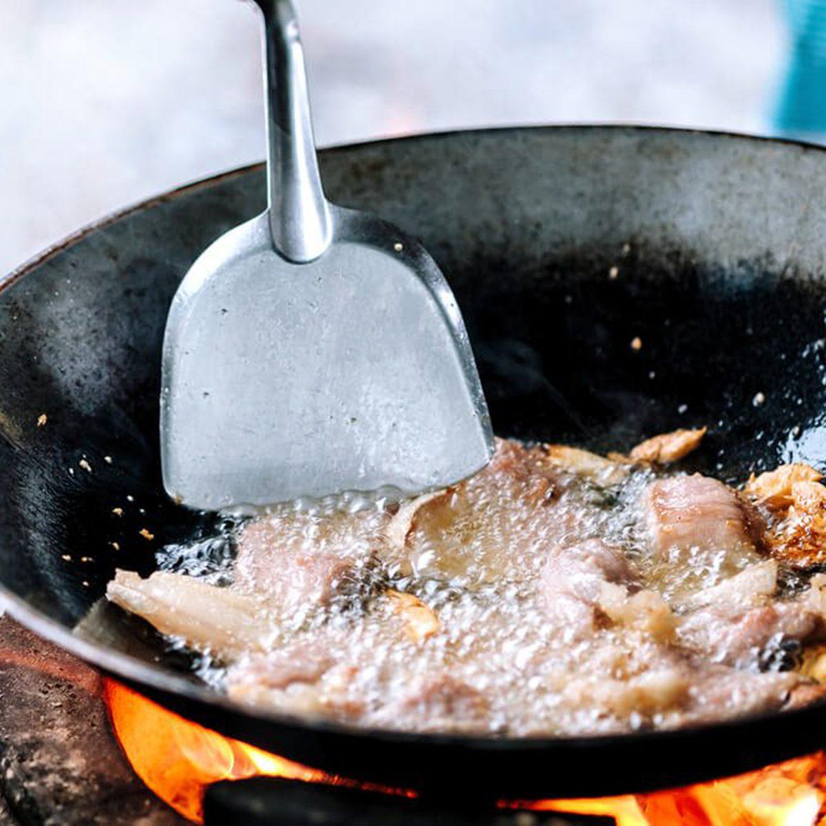 Frying fish in oil