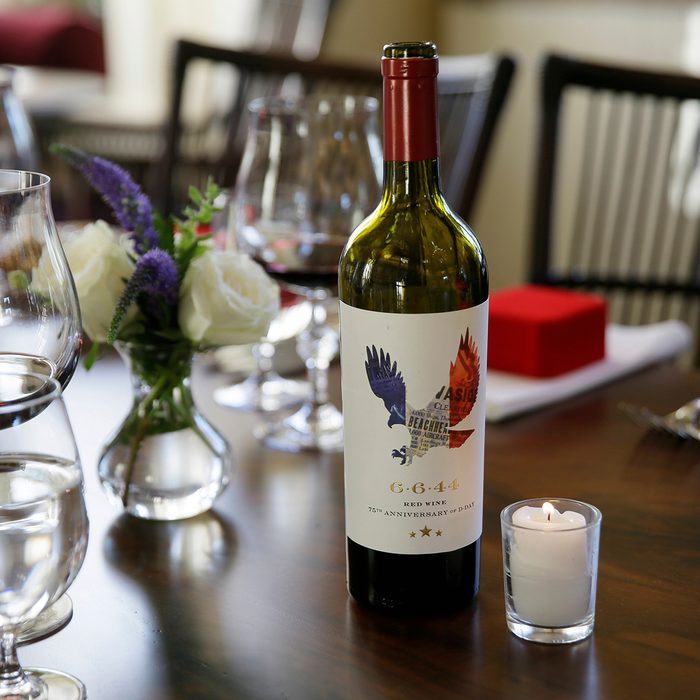 Is a bottle of 6.6.44, a wine that is a blend of red grapes from California and France