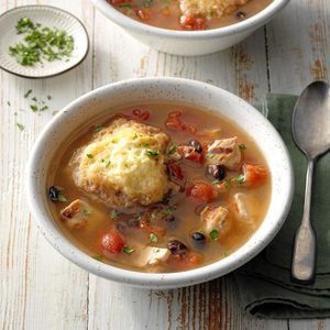 Chipotle Chicken Soup with Cornmeal Dumplings