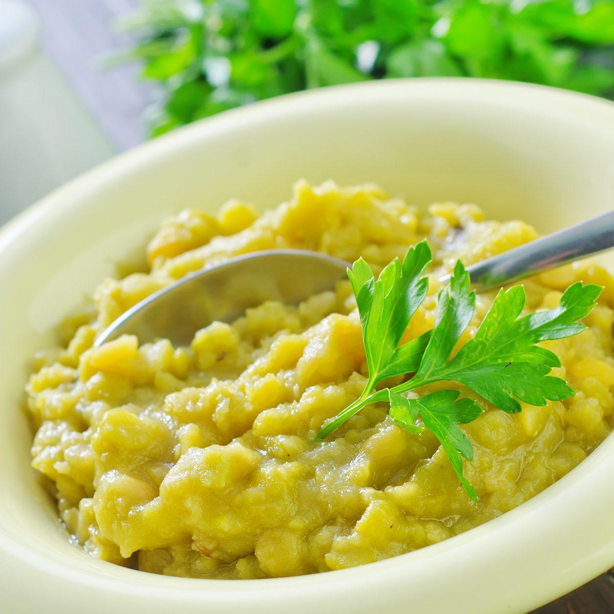 bowl of pea puree