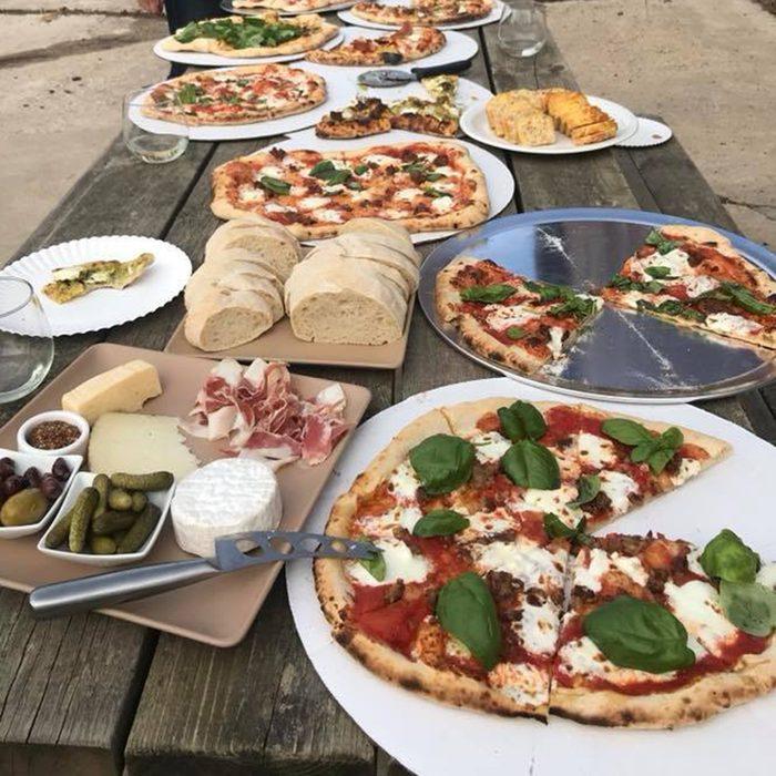 luna valley farm pizza on table