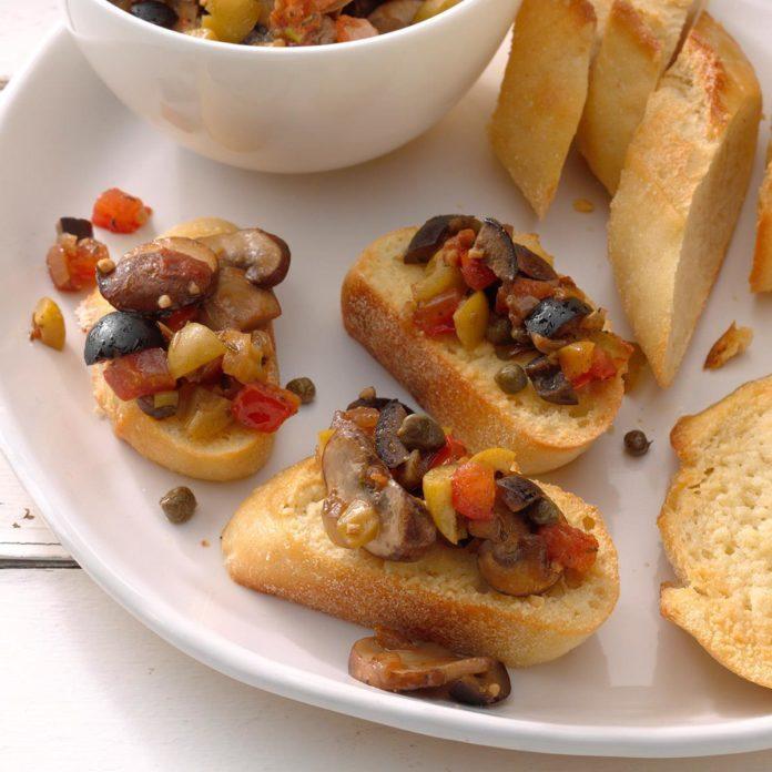 Mushroom Olive Bruschetta