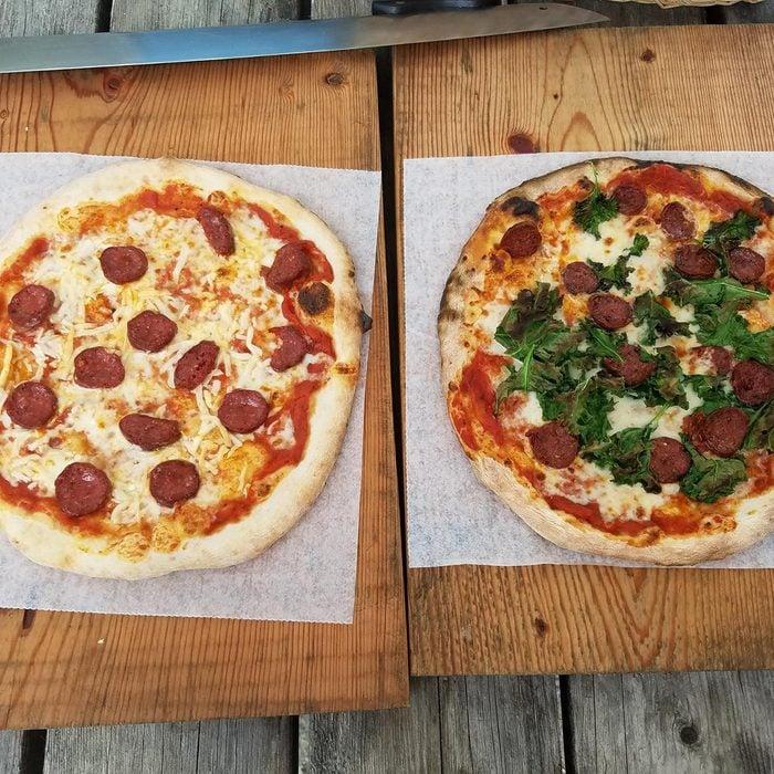 Seal Cove Farm pizzas on table