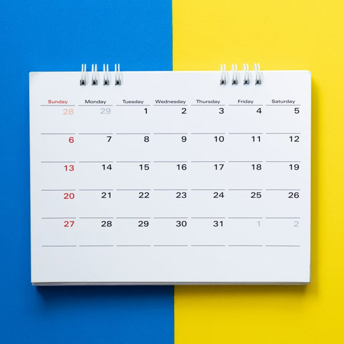 Calendar on a blue and yellow background