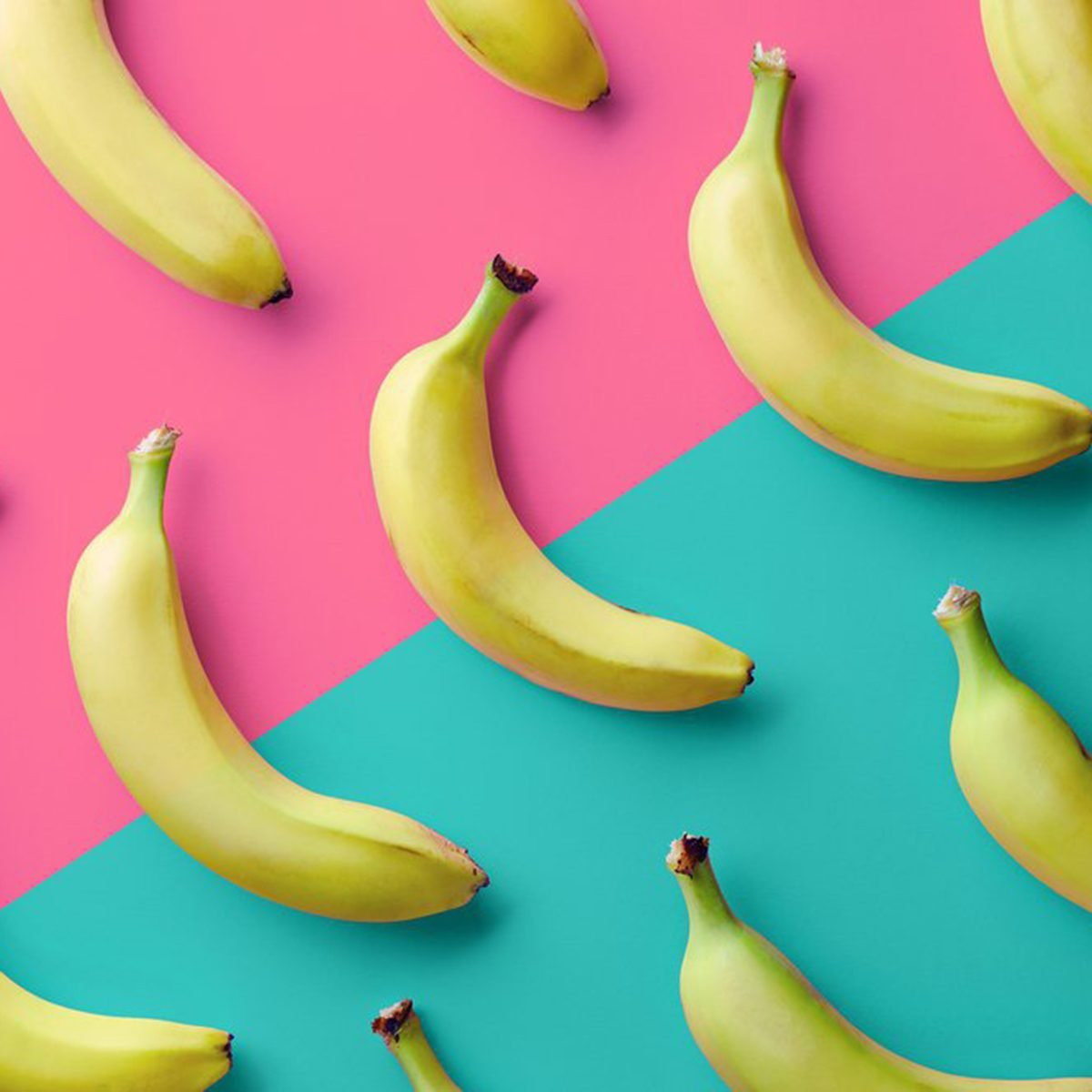 Bananas on blue and pink background