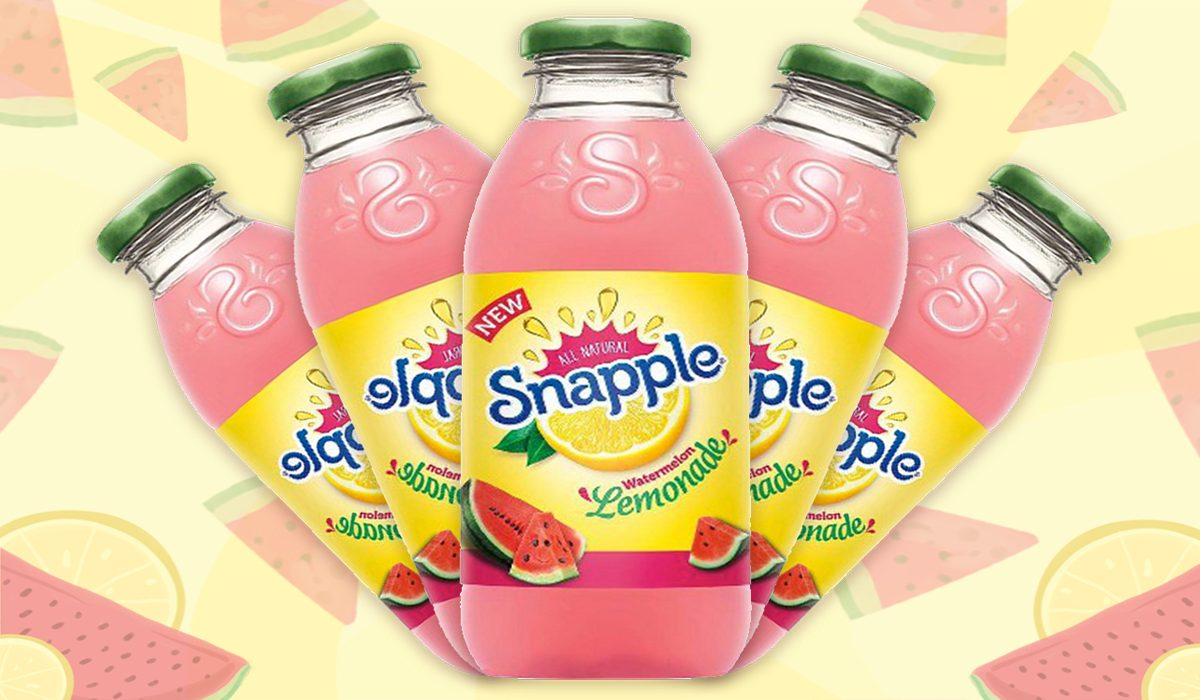 watermelon lemonade snapple on colored yelow background with watermelon illustrations