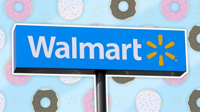Walmart sign on donut background