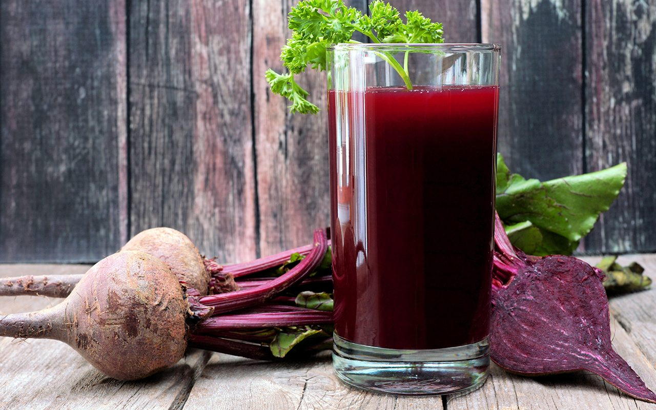 beet juice in a glass