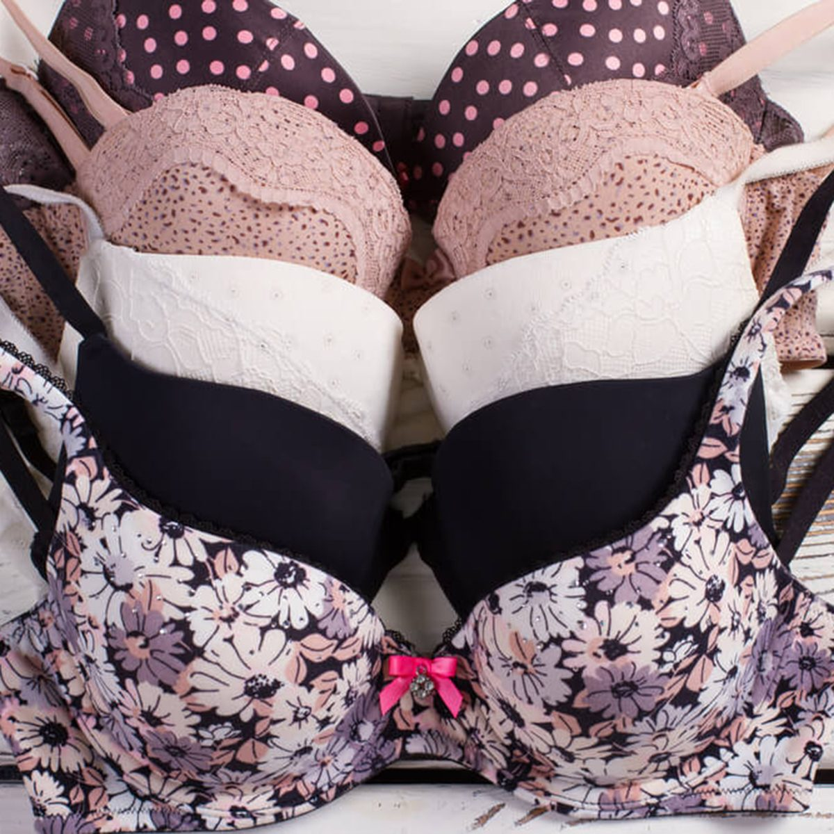 Patterned bras in a row