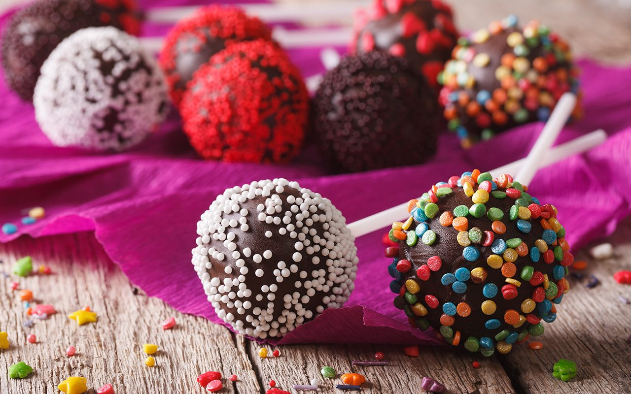 chocolate cake pops with candy sprinkles