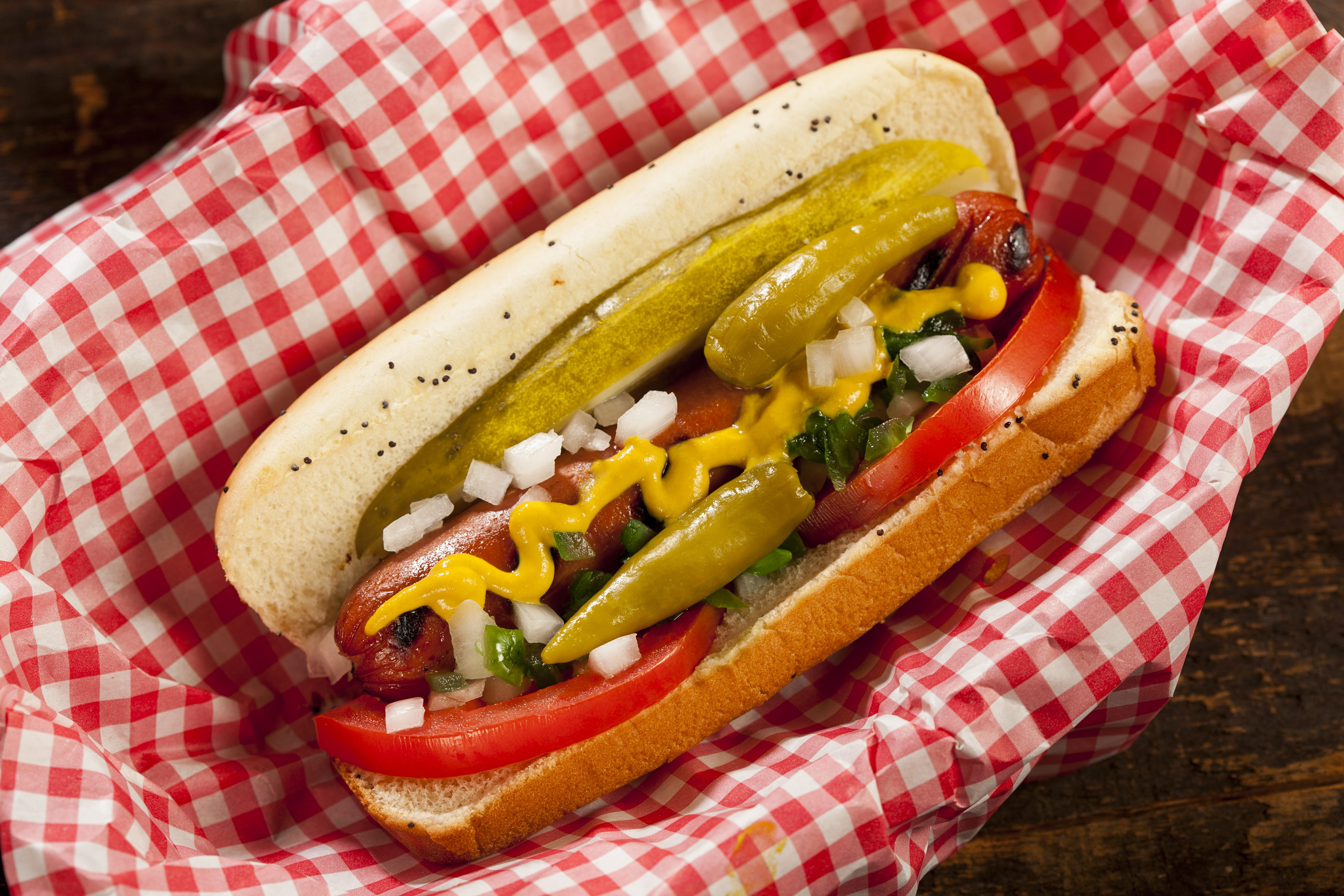 Chicago Style Hot Dog with Mustard, Pickle, Tomato, Relish and Onion; Shutterstock ID 150836300