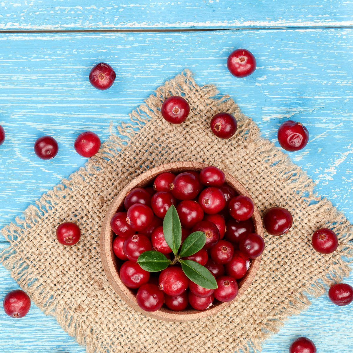 Cranberry with leaf in bowl on blue wooden background