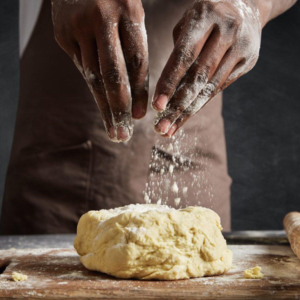 Flouring dough
