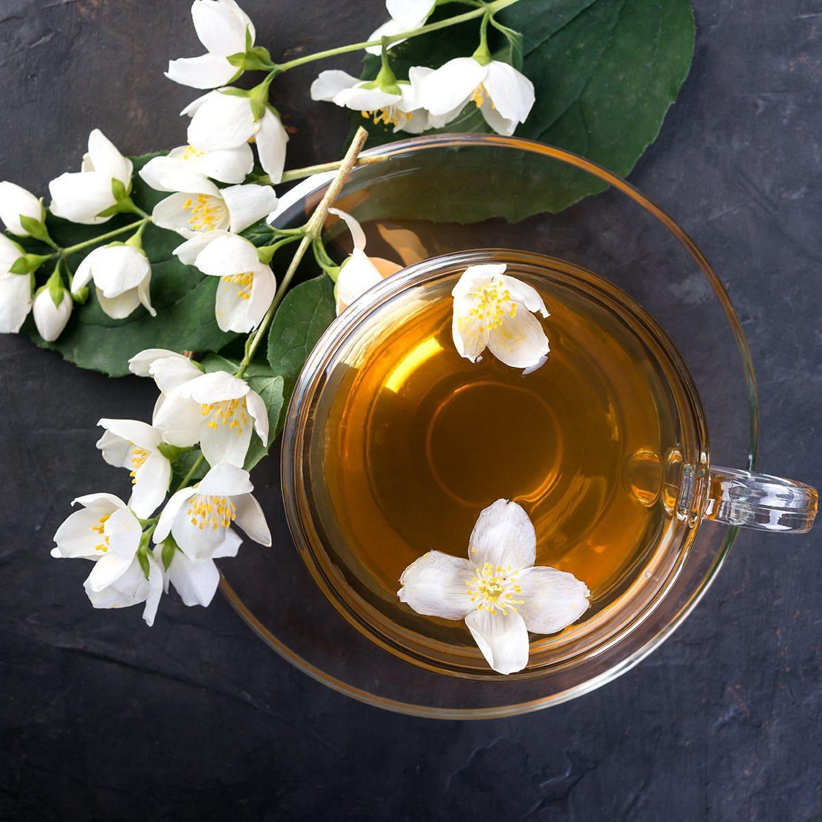 Green tea and flower petals