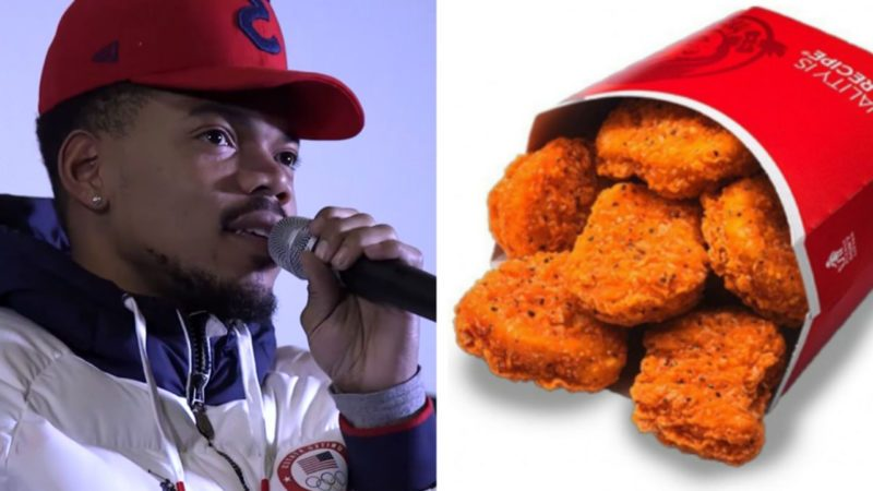 Chance the Rapper alongside a photo of Wendy's chicken nuggets