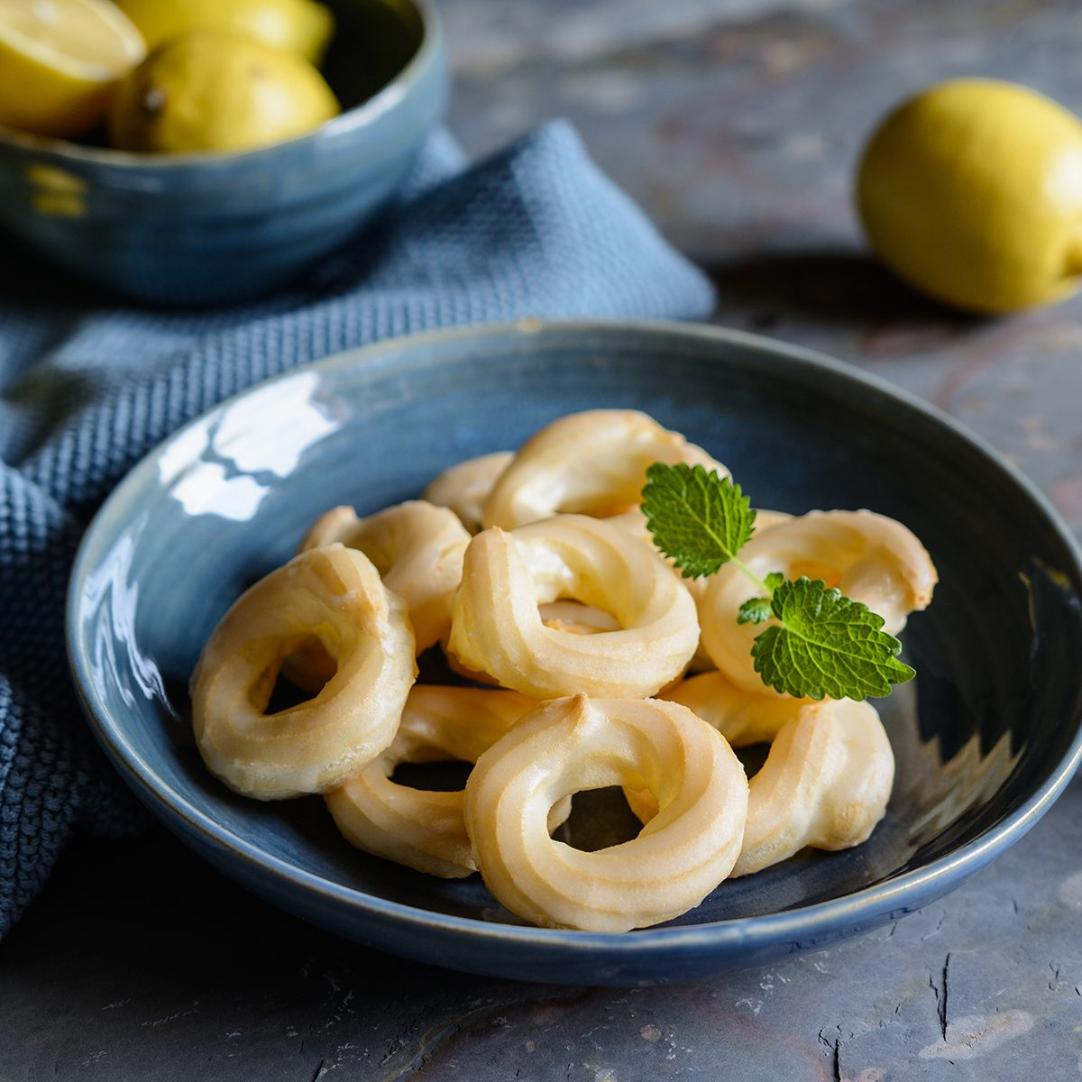 Traditional French Cruller Donuts with lemon glaze