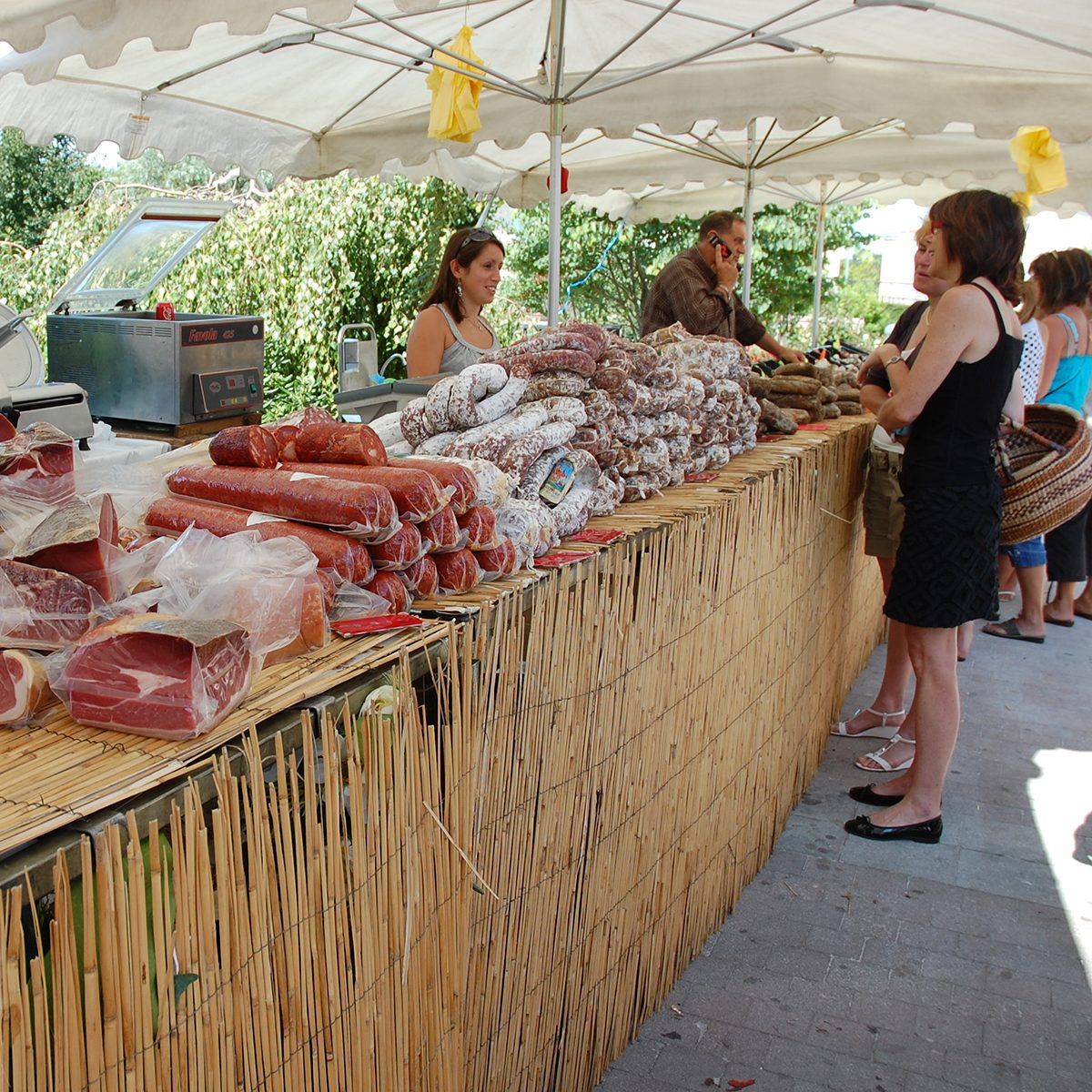 Most Famous daily market for regional products in french department Charente-Maritime in touristic old town of Meschers sur Gironde, France