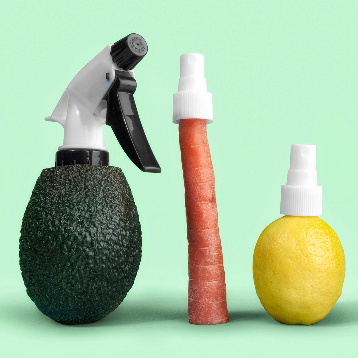 spray caps put into a lemon, carrot and avocado
