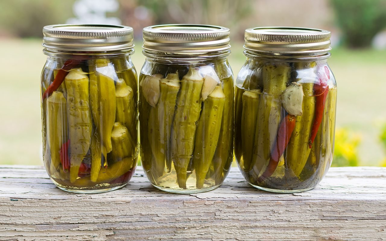 pickled okra with garlic and peppers