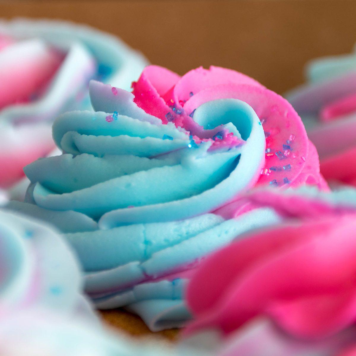 Blue & pink cupcake