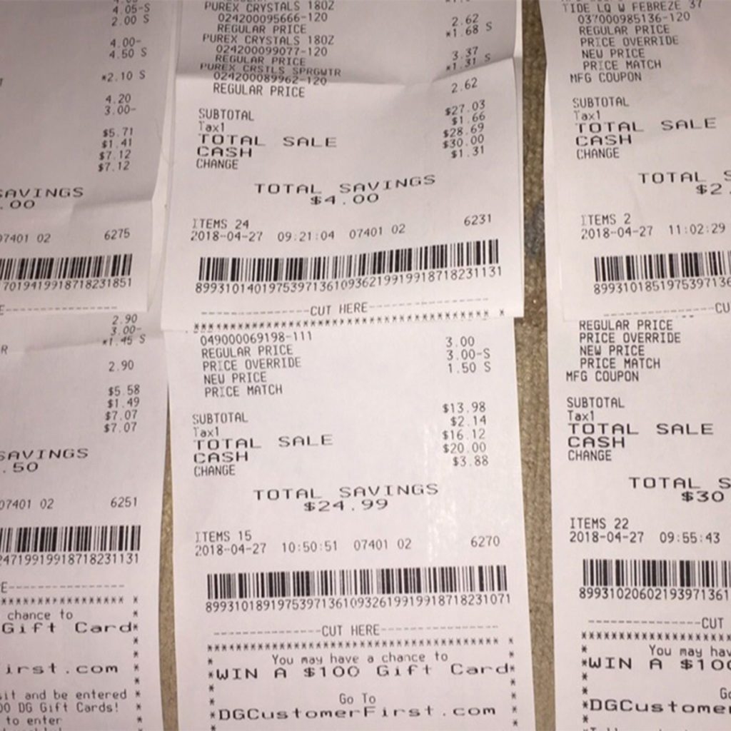 receipts couponing