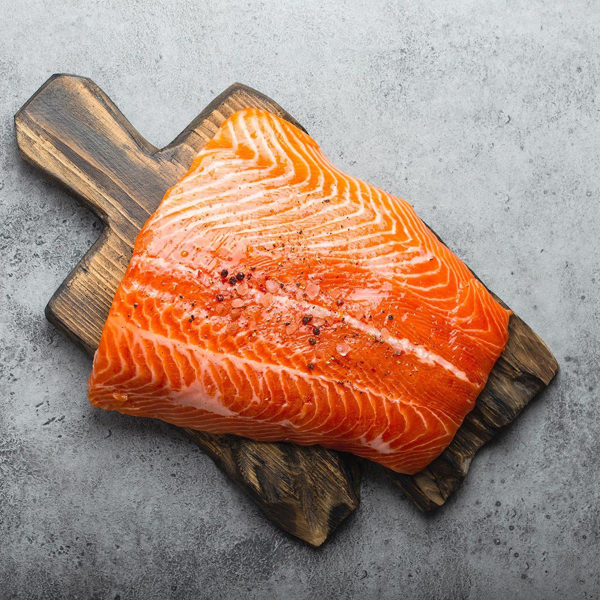 Salmon on a cutting board